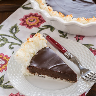 Coconut Crusted Chocolate Ganache Pie #SundaySupper