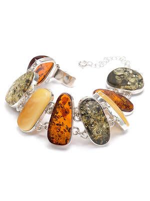 Bärnsten, armband med silverinfattning