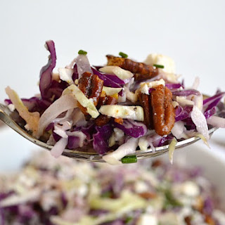 Shaved Cabbage Salad with Creamy Feta Vinaigrette & Spiced Pecans