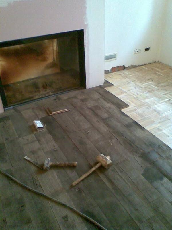 Nieuwe parketvloeren door Parketwerken Wim Daneels - Een nieuwe houten vloer bovenop een bestaande parketvloer