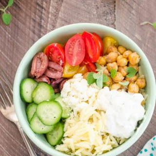 Greek Orzo Pasta Salad Roasted Chickpea Bowls