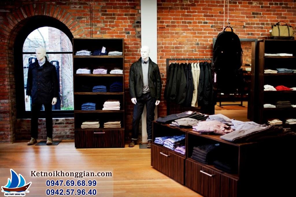 thiết kế cửa hàng thời trang nam theo phong cách cổ điện sang trọng
