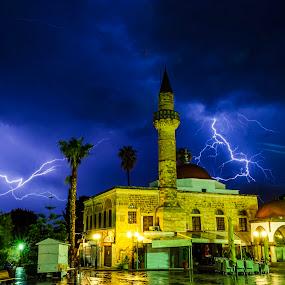 Lightning storm by George Papapostolou - City,  Street & Park  Night ( kos, lightning, greece, night, kos island, storm, city,  )
