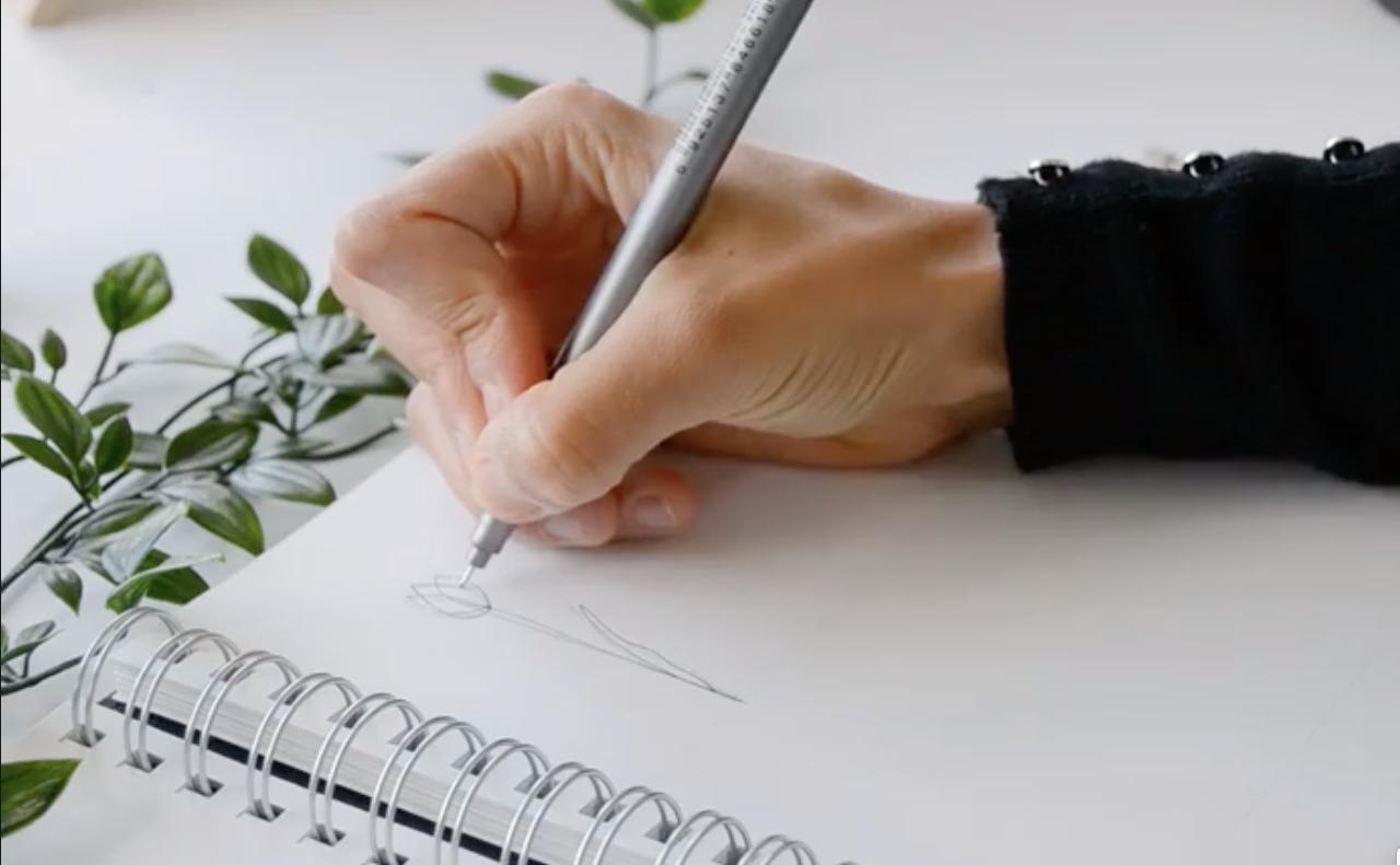 sketch in notebook