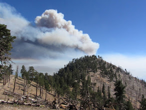 Photo: View south from Hawkins Ridge toward South Mount Hawkins with smoke from Williams Fire 2012