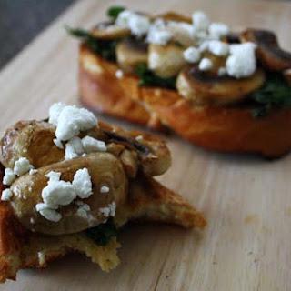 Spinach and Mushroom Bruschetta.