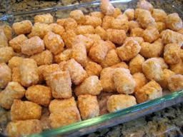 pre-heat oven to *400.  place tater tots in a 9x13 baking dish and bake for...