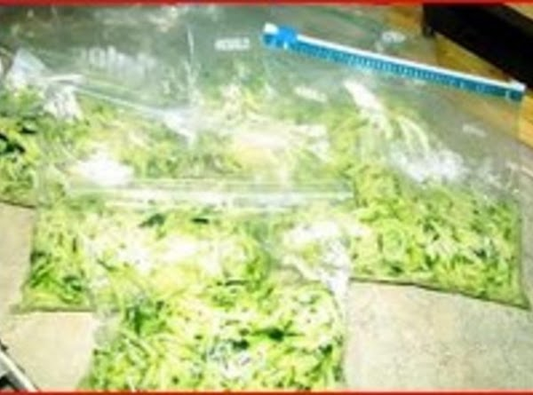 Measure the remaining zucchini into 3 cup portions and place in ziploc freezer bags...
