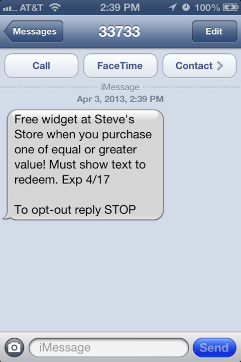 BOGO SMS coupon
