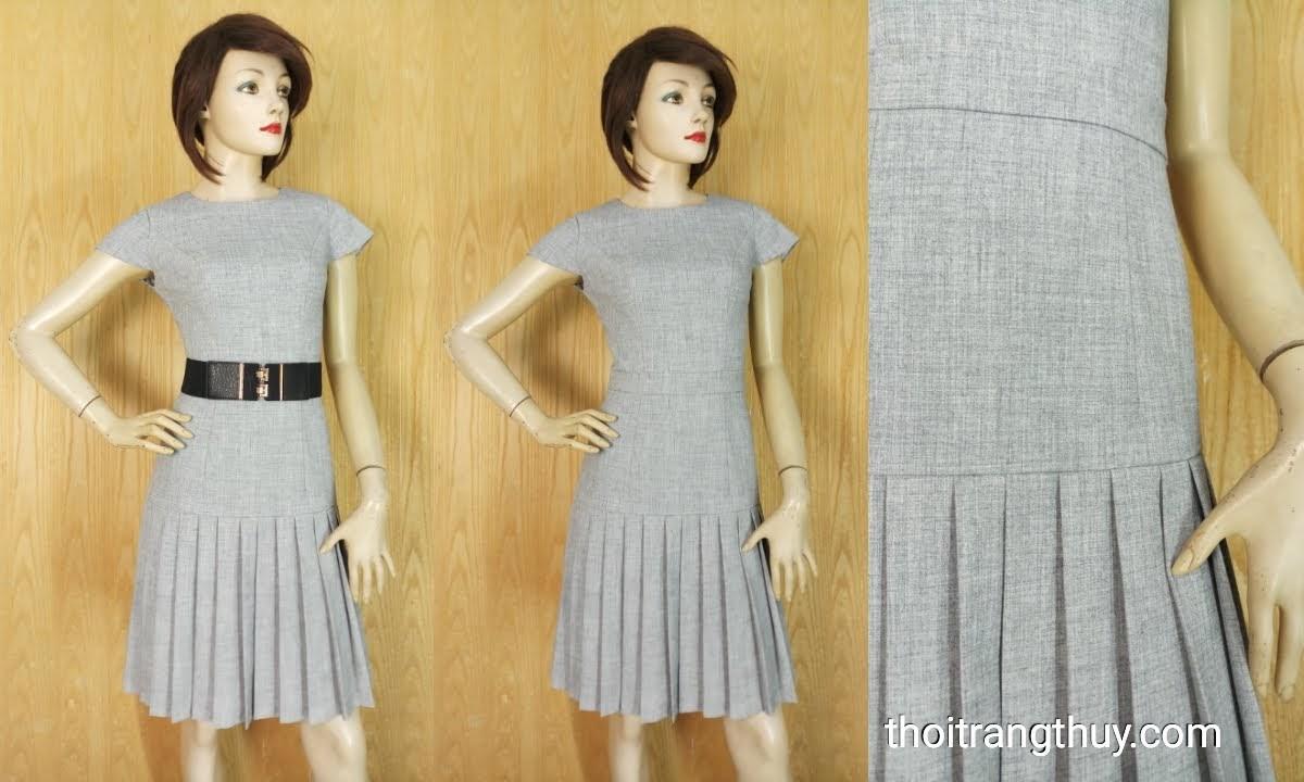 Váy hạ eo xếp ly tay sát nách màu ghi V661 thời trang thủy