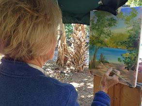 Photo: Dagmar painting at Gumbo Limbo