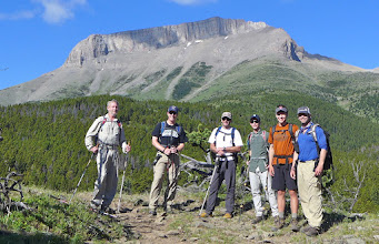 Photo: 2015 - Here's the group of friends that I guided up onto Ear Mountain (background) on June 16, 2015. Soon after this we were bush-wacking up the broad ridge behind the 4 guys on the right. (L to R: Jerry, Kacey, Hermes, Tanner, Atticus, Tyler)