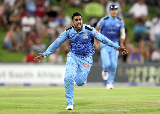 Another one bites the dust: Tabraiz Shamsi of the Titans celebrates a Warriors wicket during Wednesday's semifinal at SuperSport Park. Picture: MUZI NTOMBELA/ BACKPAGEPIX