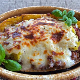 Roasted Garlic and Spaghetti Squash Lasagna Boats