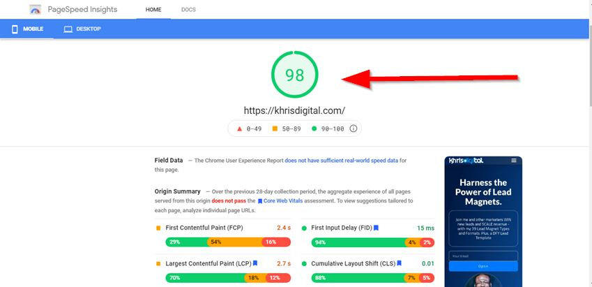 SEO for small businesses - site speed optimisation