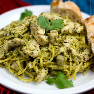 Spaghetti with Chicken and Homemade Pesto Sauce.