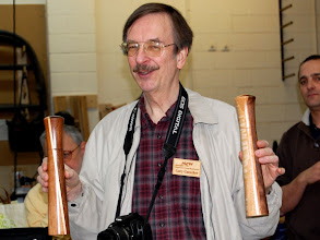 Photo: Gary Guenther talks about his adventures with his first two shafted CrushGrind peppermills.  The excellent article by Chris West in the recent Woodturning Design magazine came out too late for these but will be referenced for future ones.