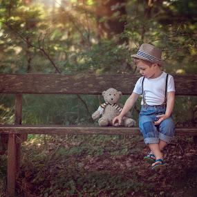 boy and teddy bear by Danuta Czapka - Babies & Children Child Portraits ( children portrait, child photography, childhood, baby boy, children photographer )