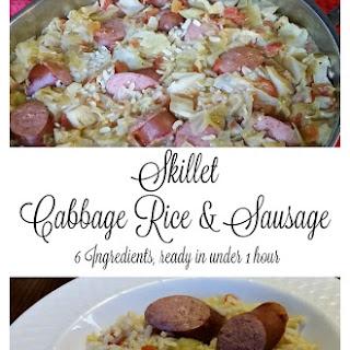Skillet Cabbage, Rice & Sausage One Dish Dinner.