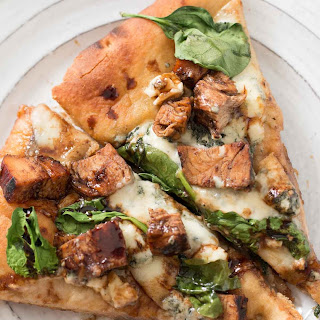 Balsamic Chicken Pizza with Blue Cheese and Spinach.