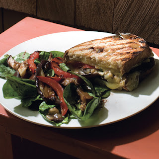 Eggplant, Red Pepper, and Fontina Panini with Spinach Salad