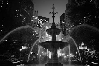 Photo: City Hall Park fountain at dusk.  Tribeca, New York City.   View the writing that accompanies this post here at this link on Google Plus:  https://plus.google.com/108527329601014444443/posts/NNEB4WnMZ3h  View more New York City photography by Vivienne Gucwa here:  http://nythroughthelens.com/