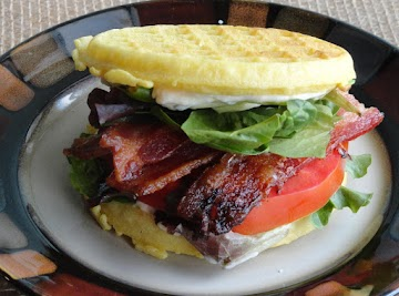 Ultimate Bacon, Lettuce And Tomato Waffle Sandwich Recipe