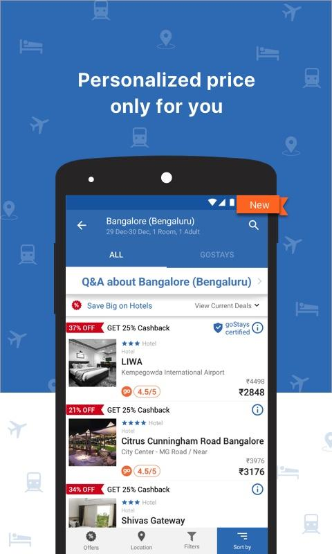 Goibibo Flight Hotel Bus IRCTC- screenshot