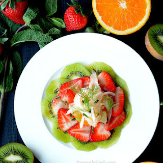 Fennel Citrus Salad with Minted Strawberries & Kiwi - Spring Fruit Salad