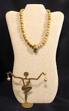 Photo: #150 ABUNDANCE ~ РЯСНОТА - brass shell pendant, bright gold freshwater pearls, 14K gold vermeil N/A