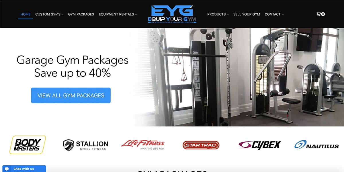 Equip Your Gym Website Screenshot