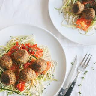 Gluten-free Zucchini Pasta Spaghetti with No-Meat Balls made with Naosap Wild Rice.