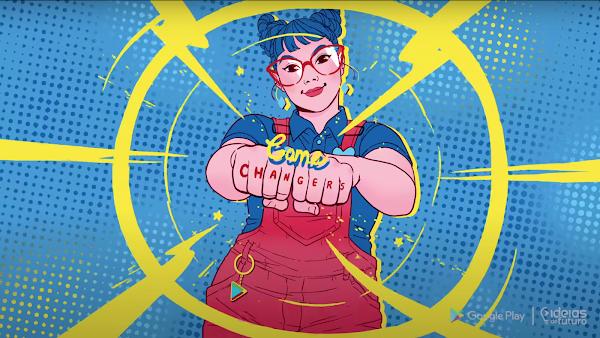 """Ilustração de uma menina de cabelo azul e dois coques. Ela está vestida com camisa azul e macacão vermelho, em frente a um fundo azul com detalhes em amarelo. Suas mãos estão fechadas e os punhos para frente, com a frase """" Game changers"""" escrito nos dedos dela."""