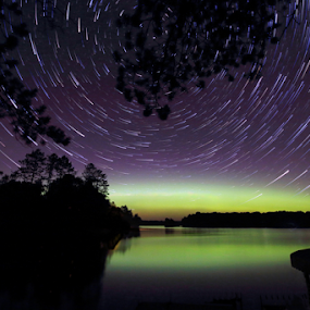 Star Tracks with Aurora by Skip Spurgeon - Landscapes Starscapes ( aurora, lake, star tracks )