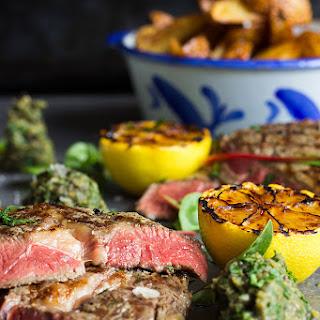 Rib Eye Steak with Aubergine Caviar and Grilled Lemon