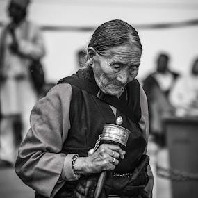Chanting Lady by Sandip Banerjee - People Portraits of Women ( culture, street, portrait, india, people,  )