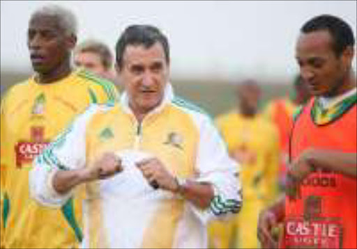 CRUCIAL MATCH: Bafana Bafana coach Carlos Alberto Parreira has assembled a strong squad for the clash against Zambia on Sunday. Pic. Mandla Mkhize. 29/05/2007. © Sowetan.