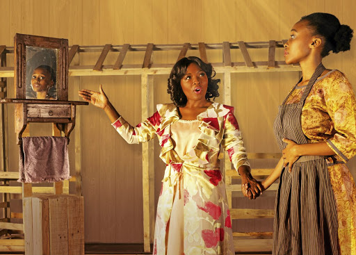 Lerato Mvelase, left, has resigned from The Color Purple. With her is Didintle Khunou who plays the central character Celie./Supplied