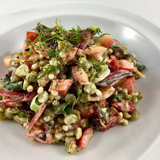Split Pea & Sorghum Salad with Swiss Chard and Spiced Tahini Dressing.