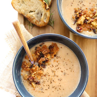 Chipotle Bacon White Bean Soup with Jalapeño Cheddar Crumble