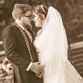 Sepia Wedding by Matthew Chambers - Wedding Bride & Groom ( bride, outdoor, love, dress, beautiful, groom, sepia, classic, white )