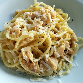 Pasta with Tuna Carbonara.