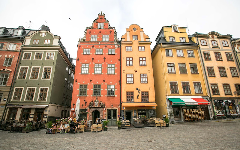 Buildings in Gamla stan, the old town in central Stockholm.