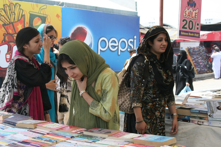 Photo: One of the main attractions of Karachi's Sunday Bazaar is its many book stands, where shoppers can find anything from dogeared classics to the latest in the Twilight vampire series. http://to.pbs.org/JhqggW