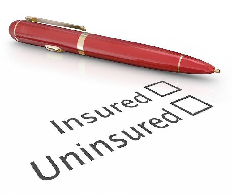 Insured or uninsured question and pen to check box to answer if you are covered by an insurance policy for medical, auto, homeowner or life protection.