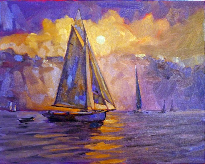 Photo: Evening Sail off Camden 16X20 oil on linen