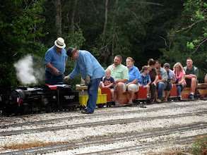 Photo: Gary Brothers adding water while engineer Pete Greene checks the fuel oil.    HALS Public Run Day 2013-0921 RPW