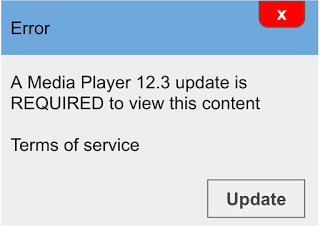 Deceptive ad claiming to be a media player update on the page.