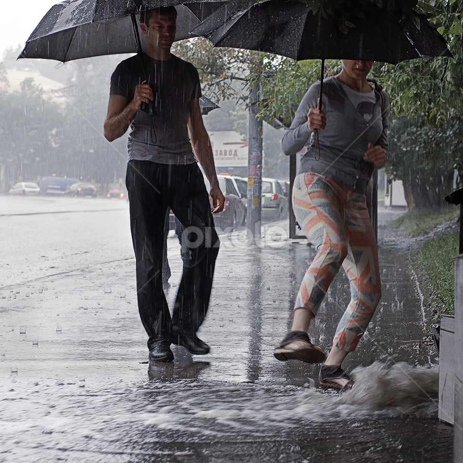 It rain by Dmitry Ryzhkov - City,  Street & Park  Street Scenes ( street, rain )