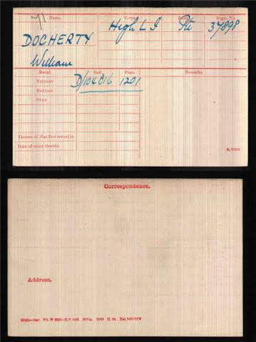 William J A Docherty's Medal Index Card